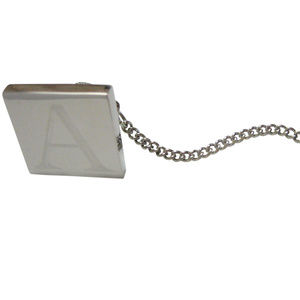 Letter A Etched Monogram Pendant Tie Tack